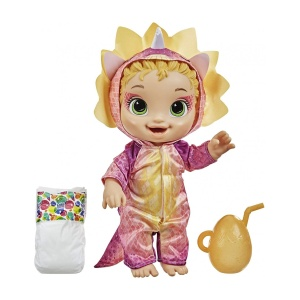 Hasbro Baby Alive Dino Cuties Doll, Triceratops, Doll Accessories, Drinks, Wets, Triceratops Dinosaur F0933